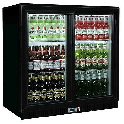 Commercial Double 2 Door Bar Bottle Display Cooler Fridge Chiller Beer Wine
