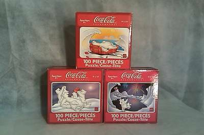 Coca-Cola Polar Bear Jigsaw Puzzle Lot 3-100 Piece Puzzles All Sealed Dated 2004