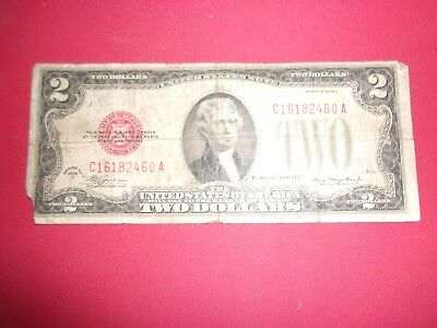 1928 D  red seal U.S. $2.00 Two Dollar Bill corner tear