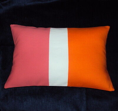 New 18x12 Mid Century ModernOrange Coral White Color Block Lumbar Pillow Cover