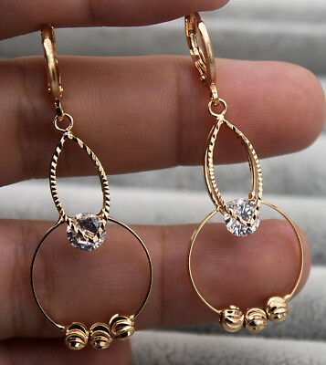 18K Yellow Gold Filled - 1.8'' Hollow Circle Bead White Topaz Club Big Earrings