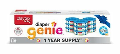 Playtex Baby Diaper Genie Diaper Pail System Refill Liners, 1 Year Supply (9-Pac
