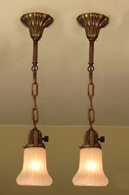 Great Matching Pair of Antique Brass Sheffield Light Fixtures - Restored! Pair#2