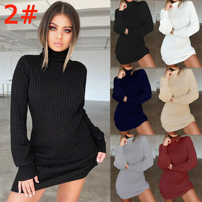 UK Womens Long Sleeve Jumper Ladies Knitted Sweater Loose Tunic Top Mini Dresses