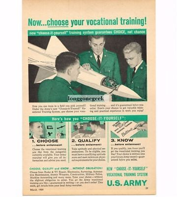 1959 US Army Recruiting Recruitment Vocational Training Opportunities Vtg Ad