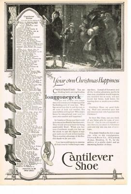 1922 CANTILEVER Shoe Christmas Happiness art Vtg Print Ad