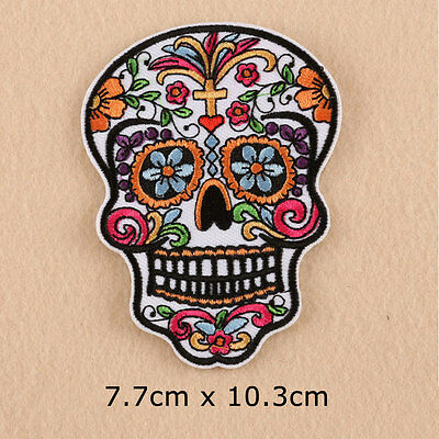 Halloween Skull Embroidery Sew Iron On Patch Hat Badge Applique Craft DIY Gifts