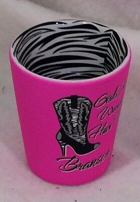 """Branson (4) Shot Glass Pink And Zebra """"girls Just Wanna Have Fun"""" Events Favors"""