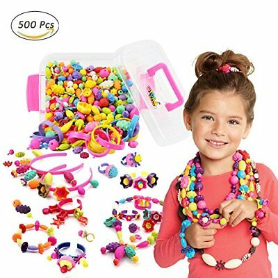 WTOR Pop-Arty Beads 500Pcs Snap-Together Kid DIY Bead Toys made Jewelry Necklace
