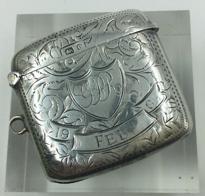 Antique Edwardian Solid Silver Foliate Engraved Vesta Case Birmingham 1904