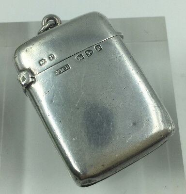 Antique Victorian John Millward Banks Solid Silver Plain Vesta Case Chester 1898