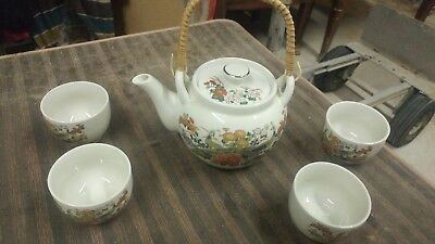 Beautiful Vintage Peacock Teapot Set Japan Highly Decorated Ornate OMC