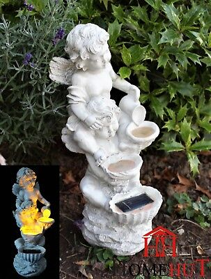 Solar Garden Patio Beautiful Cherub Fairy Garden statue Ornament Flowing Water