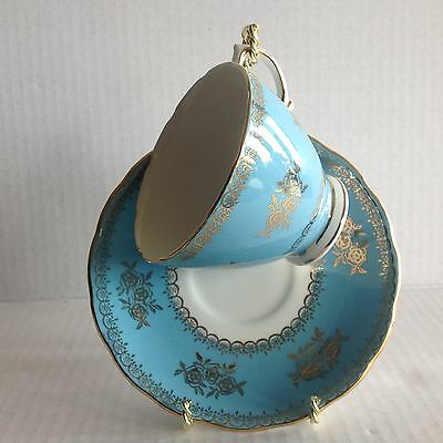 Vintage Colclough Teacup and Saucer Blue/Turquoise Gold Scrolls Roses