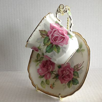 Vtg Royal Stafford Berkeley Rose Square Tea Cup and Saucer made in England