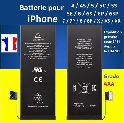 BATTERIE POUR IPHONE 4 / 4S / 5 / 5C / 5S / SE / 6 / 6+ / 6S / 6S Plus / 7 + / 8