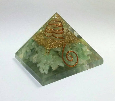 Natural Green Aventurine Chakra Orgone Pyramid for Crystal Healing Reiki