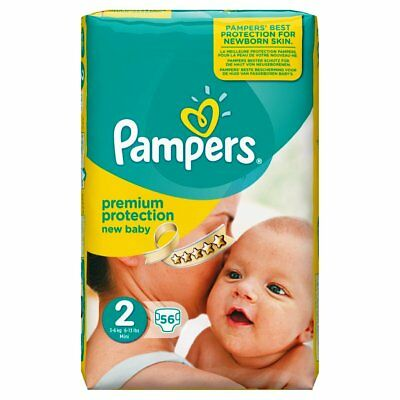 Pampers New Baby Premium Protection Nappies Monthly Size 2,3-6KG Mini Jumbo Pack