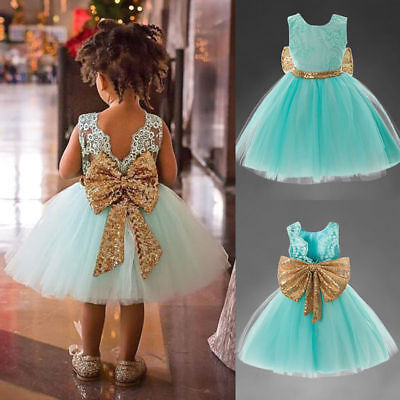 Princess Kids Girl Bowknot Lace Floral Dress Wedding Party Formal Dresses 0059H
