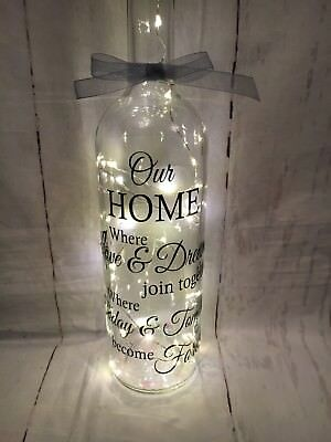 Beautiful Light Up Wine Bottle With Our Home Quote + GifT Box 📦