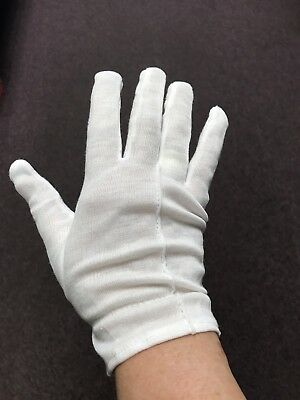 12 Pair White Cotton Inspection Glove LIGHT DUTY Coin Jewelry Stamp Silver LARGE