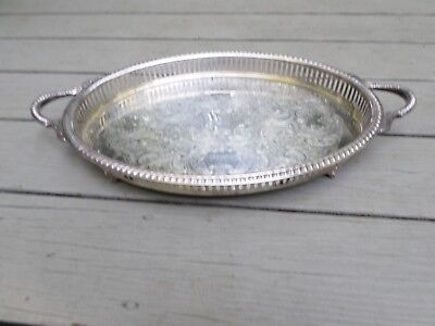 Vintage Silver plate Reticulated Oval Tray