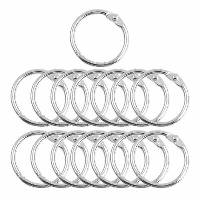 "15 Pcs Photo Album 1"" Outer Diameter Metal Loose Leaf Rings Silver Tone SS"