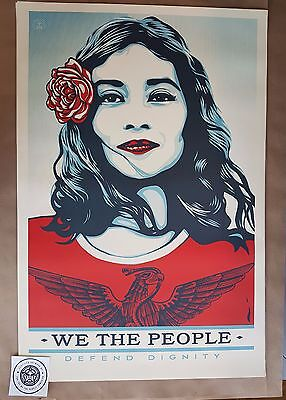 Shepard Fairey - We The People Original  - Defend Dignity + Manifesto + Sticker