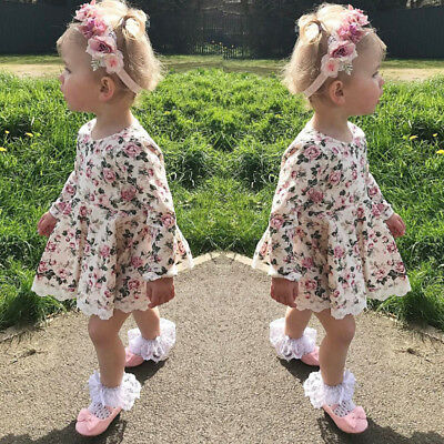 Baby Girls Kids Floral Long Sleeve Lace Party Princess Dress UK
