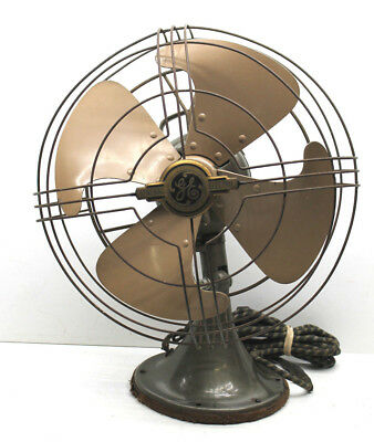 General Electric Oscillating Fan 1940's Art Deco Vortalex Blade 12 inch 3 Speed