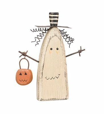 Chunky Ghost Sitter Holding Pumpkin Basket Halloween Wood Figurine