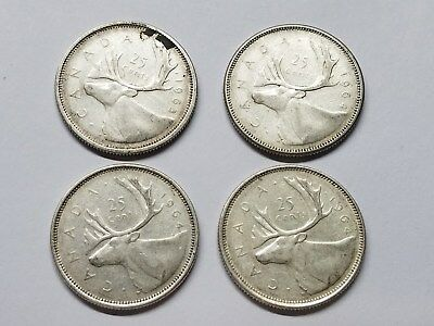 Lot of 4 Canadian Quarters 80% Silver 1963-1964 Free Shipping