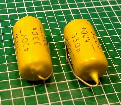 Mullard Mustard capacitors, 0,33uF, 330nF/400V-, lot of two, new old stock, nice