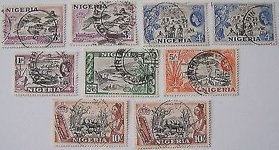 Nigeria 1953 - 9 stamps 3d to 10/- used