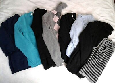 Lot 8 100% Cashmere Sweaters Upcycle Cutter Craft Black Blue Cable Argyle 3 Lbs