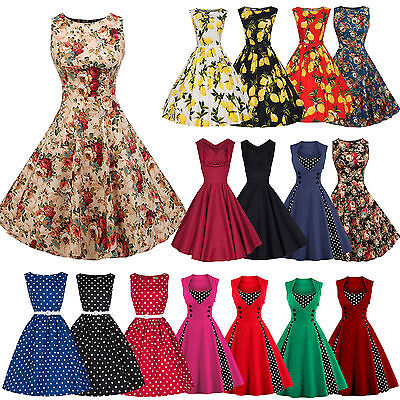 Womens Rockabilly Swing Dress Retro Evening Cocktail Party Xmas Flared Plus Size