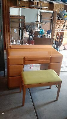 Mid Century Russell Wright Vanity Desk with Bench and Mirror 515 Stardust