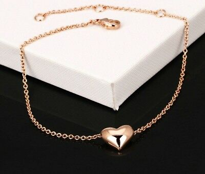 """9ct 9k """"Gold FILLED"""" Heart Ankle Chain Anklet Summer Beach Holiday Gift Jewelery"""