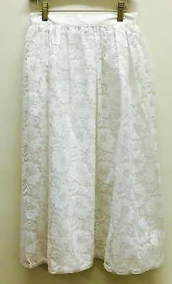 Vtg girl 10 skirt white lace Lined long dressy Katies EUC