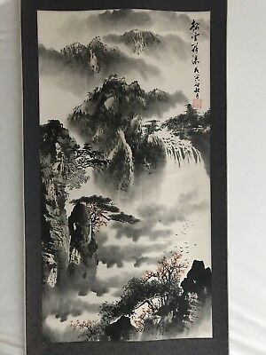 Japanese Hanging Scroll Painting, Mountain Landscape