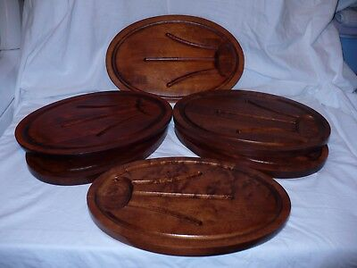 Set 6 Vintage Baribocraft Canada OvalTeak Wood Grill Steak Plates Dish Meat Tray