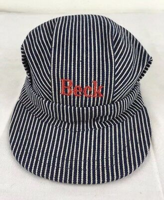 Child's Railroad Engineer Hat Heavy Denim Fabric Blue & White Stripes BECK