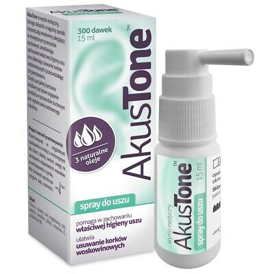 AkusTone CLEANSING SPRAY FOR EAR 300 doses Oczyszczajacy Spray do Uszu 15ml
