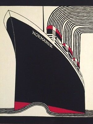 Frances Butler SS Normandie Screenprint Stromma Sweden Large Art Deco 1970s