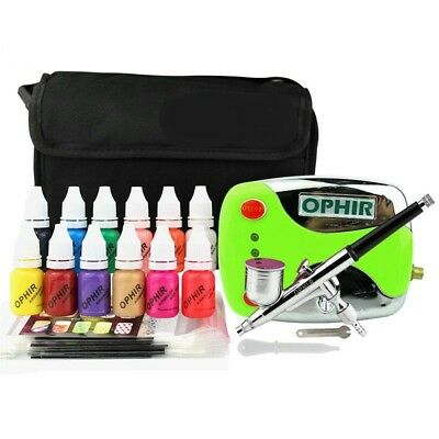Airbrush Compressor Kit 0.3mm Nail Art 12 Color Inks 20 Airbrushing Stencils Bag