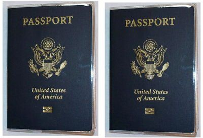 USA Quality Fast Ship 2x Passport Clear Vinyl Cover Protector Holder