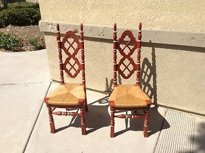 Pair Of Hand Painted Ladder-Back Chairs