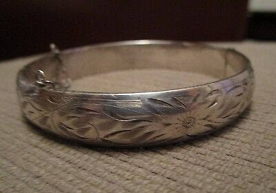Forstner Sterling Silver Etched Bangle Bracelet   Canada