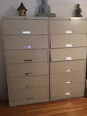 HON  6 Shelf Metal Cabinet, Dividers, Doors Lock With Key