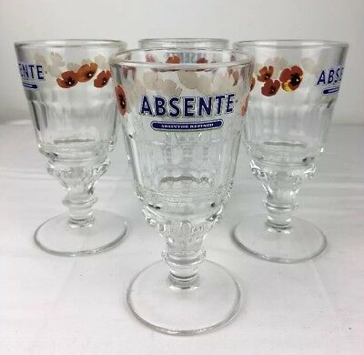 "Set of 4 Absente Absinthe 6 1/2"" Reservoir Glasses Red Poppies La Rochere France"